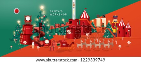 christmas greetings/santa's workshop template vector/illustration