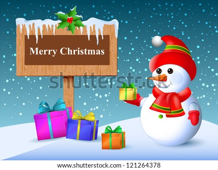 Christmas greetings. Wooden plaque with gifts. Falling snow and icicles. Snowman Surprise.Vector.