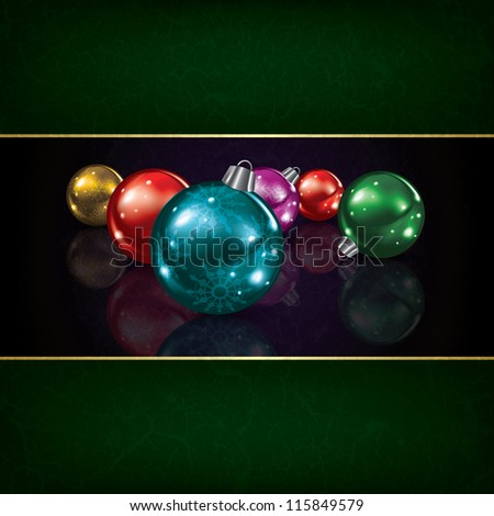 Christmas grunge background with decorations on black
