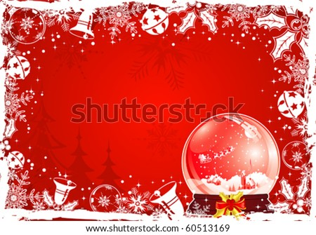 Christmas grunge frame with snowflake, mistletoe, bell, element for design, vector illustration