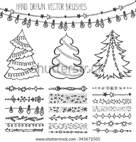Christmas Hand Drawn Brushesline BorderNew Year Doodle Pattern Texturessnowflakes