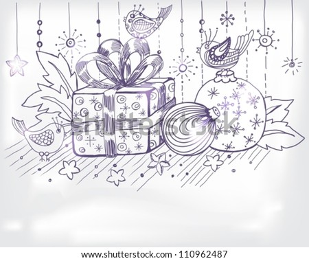 Christmas hand drawn card for xmas design, with balls, birds and present, vector illustration