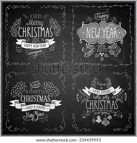 Christmas hand drawn card set - Chalkboard.