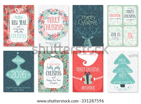 Christmas hand drawn card set. Vector illustration. #331287596