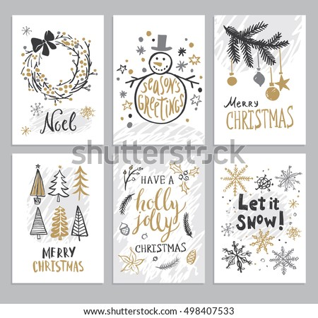 Christmas hand drawn cards with Christmas trees, snowman, snowflakes, fir branch, balls and wreath. Vector illustration.