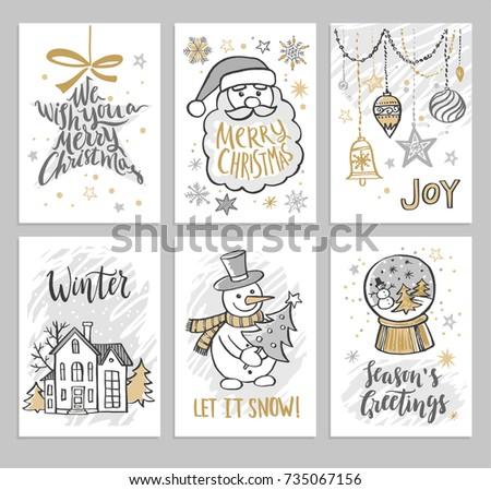 Christmas Hand Drawn Cards With Snowman Santa Balls And Stars Vector Illustration