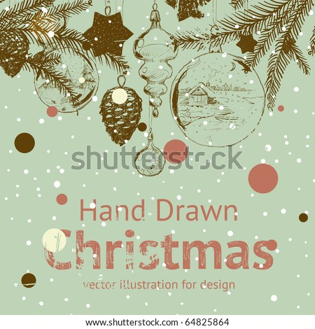 christmas hand drawn fur tree