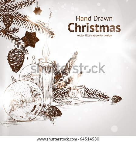 Christmas hand drawn fur tree for xmas design. With balls, toys and fir-cone and candle.
