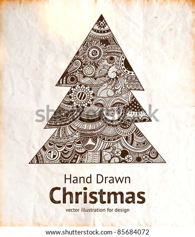 Christmas hand drawn fur tree for xmas design with ornaments.