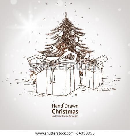 christmas hand drawn fur tree