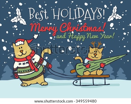 Fat Cat Christmas Card - Download Free Vector Art, Stock Graphics ...