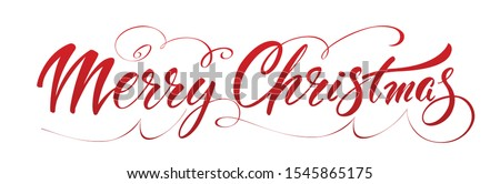 Christmas hand drawn lettering. Xmas text isolated on white for postcard, poster, banner design element. Merry Christmas script calligraphy. Xmas holiday lettering design.