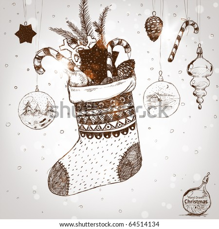 Christmas hand drawn sock for xmas design. With balls, fur tree branch, toys and fir-cone and sweet.