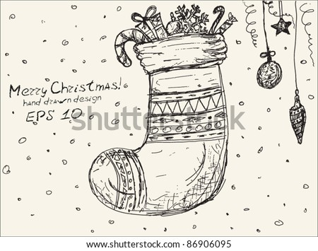 Christmas hand drawn sock with balls, toys and sweet.