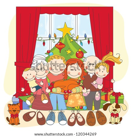 Christmas. Happy family together. Hand drawing illustration.
