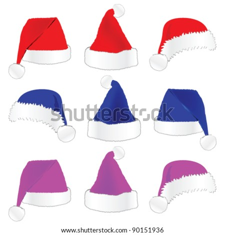 christmas hat in three color vector illustration on white