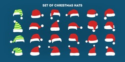 Christmas hat set. Collection of Santa Claus decoration for photo booth. Holiday party concept. Isolated flat vector illustration