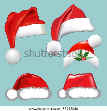Christmas hats. Vector set. Collection for your design.