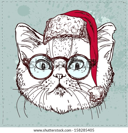 christmas hipster cat hand draw