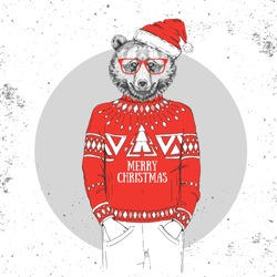 Christmas Hipster fashion animal bear dressed a New Year hat and pullover