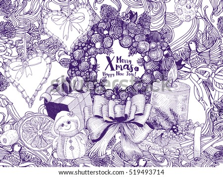 Christmas Holiday Background With Pen Drawn Decorations And Hand Drawings Vector Illustration