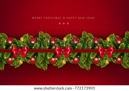 Christmas holiday border with realistic fir tree branches , balls, stars and other ornaments and decorations, isolated on rich red.  Vector stock illustration  #772173901