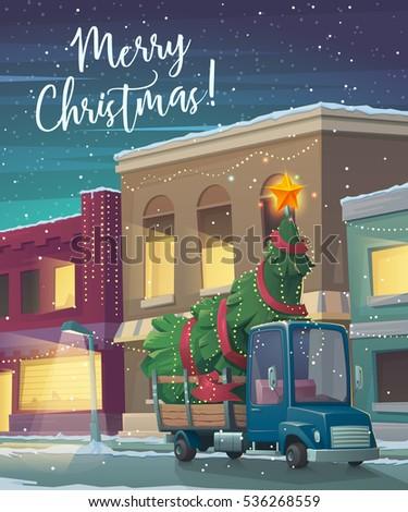 christmas holiday card. cartoon ...