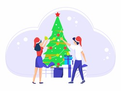 Christmas holiday celebration. Men and women celebrate Christmas holidays together. various kinds of gifts on the christmas tree. vector illustration