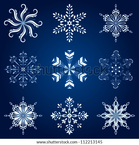 Christmas holiday decorating: set white winter snowflakes on blue background. Vector