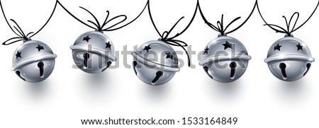Christmas holiday decoration garland. Silver jingle bells on the rope. Festive seamless pattern with banner with realistic sleigh bells handing for christmas greeting card design. Vector illustration.