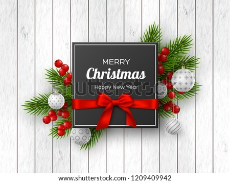 Christmas holiday design. Realistic 3d balls, fir-tree branches, berries and label with silk bow on wooden texture. New Year background. Vector illustration.