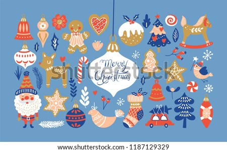 Christmas holiday element set for graphic and web design. Vector illustration