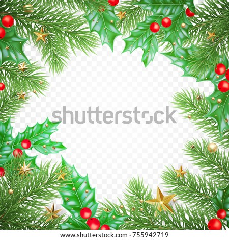 Christmas holiday greeting card background template of golden star and ball decorations on Christmas tree and holly wreath. Vector New Year golden confetti garland on transparent luxury white design. #755942719