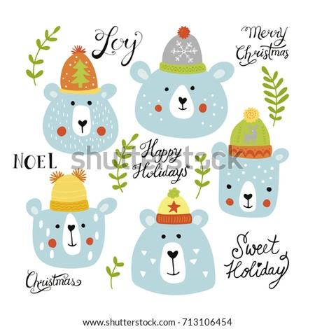 Christmas holiday hand drawing set - cute bears in hats and lettering. Vector illustration
