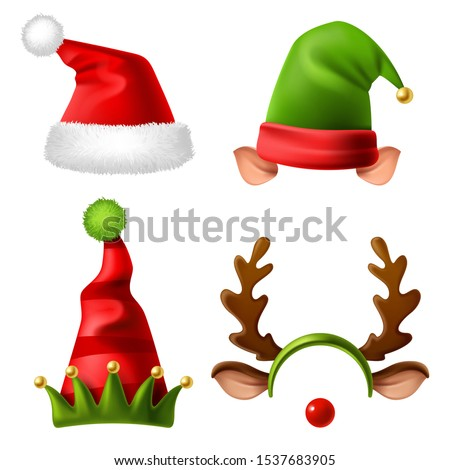 Christmas holiday hats. Santa claus red cute cap, snow reindeer and elves fur hat. Funny winter celebration headwear realistic vector kids wearing accessories set for carnival