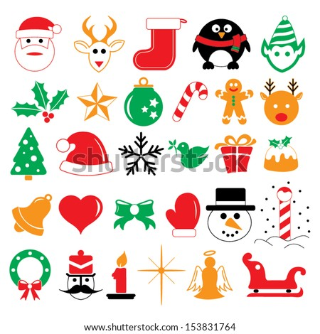 christmas holiday icons and