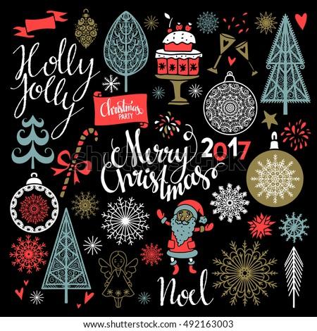 christmas holiday icons merry