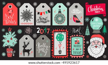 Christmas Holiday icons, tags, labels, marks, stickers. Merry Christmas, Christmas party, handwritten. Tree, reindeer, snowflakes, Santa Claus, bird, gift, snow globe, mistletoe, flags. 2017 number