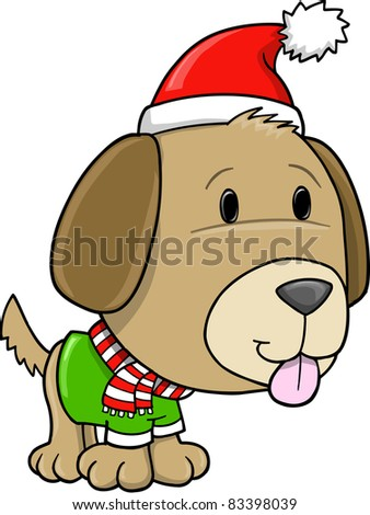 Christmas Holiday Puppy Dog Vector Illustration Art