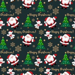 Christmas holiday seamless pattern of Santa Claus with cute polar bear wear Santa hat and red scarf, Christmas tree, snowflakes and Happy Christmas text. Design for winter holidays greeting season.
