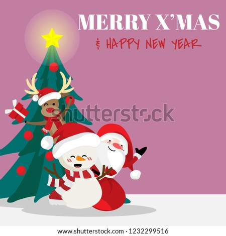 Christmas holiday season background with Santa Claus, Snowman, reindeer and Christmason tree. For Merry Christmas greeting card. For Winter season. Happy New Year. #1232299516