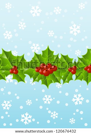 Christmas holly background with place for text #120676432