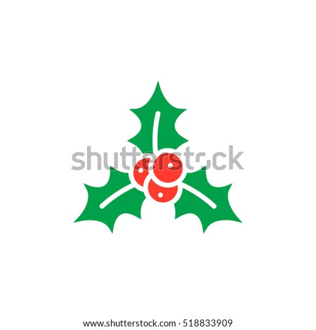 Christmas holly berries icon vector, filled flat sign, solid colorful pictogram isolated on white, logo illustration