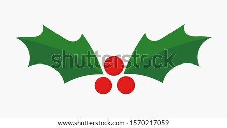 Christmas holly berries icon. Vector illustration.