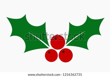 Christmas holly berries mistletoe flat icon. Vector illustration.