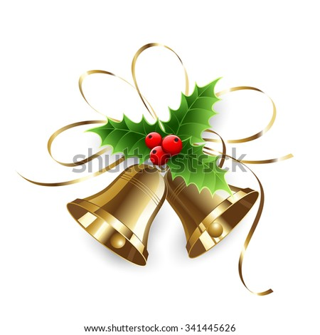 Christmas Holly Berry and gold bells. Vector illustration