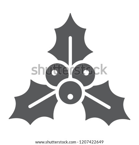 Christmas holly berry glyph icon, xmas and winter, plant sign, vector graphics, a solid pattern on a white background, eps 10.