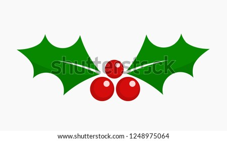 Christmas holly berry leaf icon. Vector illustration.
