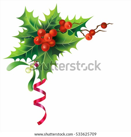 Christmas holly border isolated on white. Vector illustration.