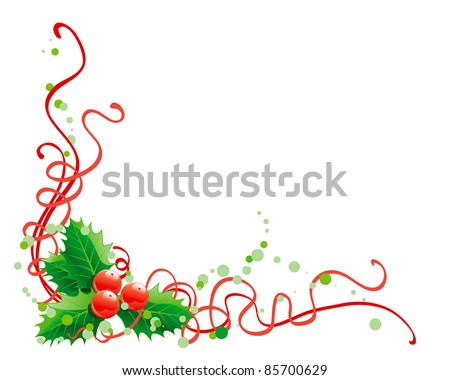 Christmas holly decoration. Vector abstract christmas illustration of holly on white background